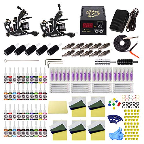 - Tattoo Kit for Beginners Complete Starter Tattoo Kit 2pcs Tattoo Machine Kit with Needle Cartridge Kit 40 Tattoo Inks TK1000088