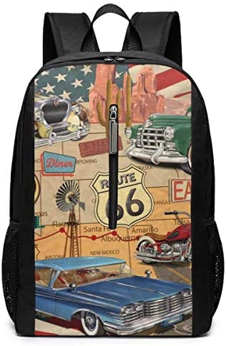 Qfunny Vintage American Route Tourist Climbing Daypack Bookbag Backpack 17 Zoll