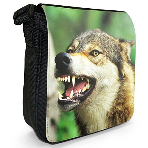 In Bag Size Small Forest Wolves Shoulder Black Snarling Wolf Canvas wn6v8q7H
