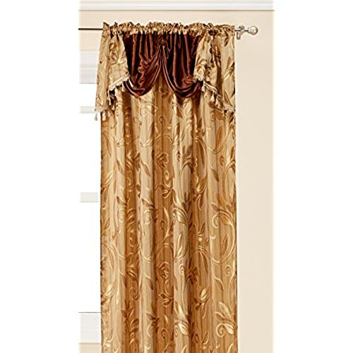 Elegance LinenLuxury Design Jacquard Curtain Panel Set With Attached Valance 55 X 84 Inch Of 2 Brown