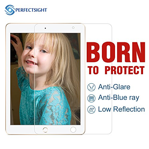 PERFECTSIGHT Screen Protector Compatible iPad Pro 9.7 Inch iPad 2017/2018 /Air 1/2 [Eye Care] Anti Glare Blue Light Fingerprint Proof Anti Scratch 9H Tempered Glass Film