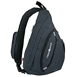 Versatile Canvas Sling Bag / Urban Travel Backpack Black | Wear Over Shoulder or Crossbody for Men & Women by NeatPack