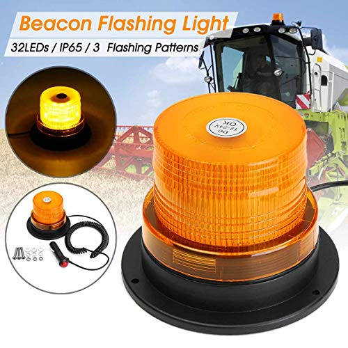 12V/24V LED Amber Car Strobe Warning Light Magnetic LED Flashing Emergency Truck Beacon Lamp