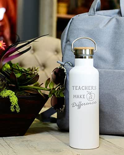 Engraved Teacher Water Bottle - 25 ounces (750ml) Premium Double Wall Insulated Vacuum Elemental Bottle - New School Year Gifts