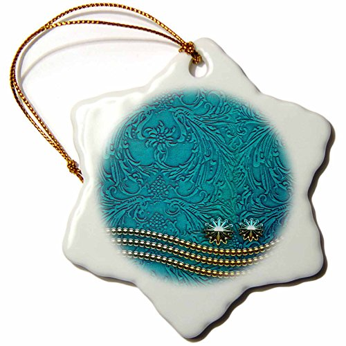 - 3dRose Heike Köhnen Design Decorative - Decorative design with pearl necklace on vintage background - 3 inch Snowflake Porcelain Ornament (orn_243102_1)
