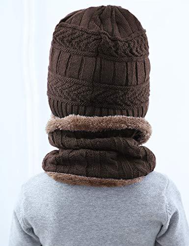 Gargantilla Unisex Hat Forro de Sombrero 2pcs con Mujer forro Bufanda Caf Hombre punto Invierno Aibrou Beanie caliente polar twIRqf7R