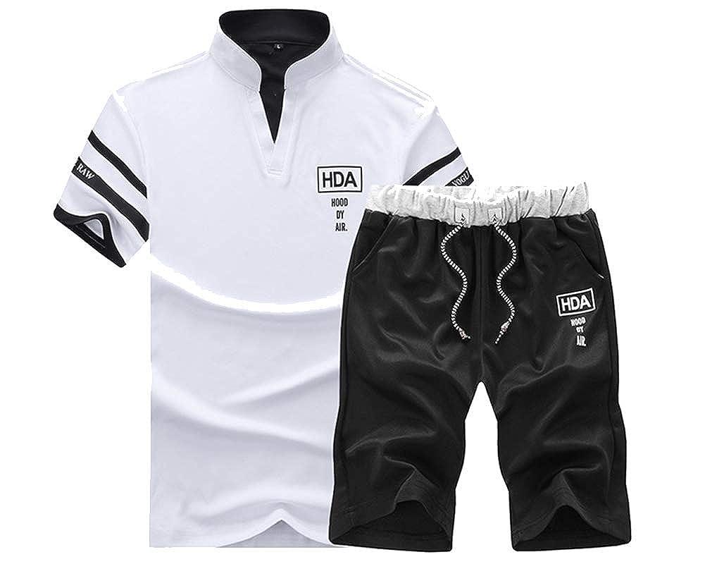 Herren Fitness Slim Fit Hose Trainingsanzug Kurze Ärmel Freizeit Shorts