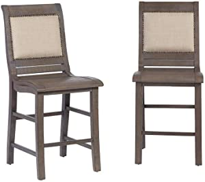 Progressive Furniture Upholstered Counter Chair (2/Ctn), Distressed Dark Gray