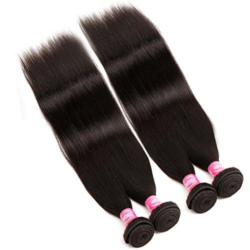 Mink 8A Brazilian Virgin Hair Straight Remy Human Hair 4 Bundles Deals (22'' 24'' 26'' 28'') 100% Unprocessed Brazilian Straight Hair Extensions Natural Color Weave Bundles by Grace Length Hair (Image #1)