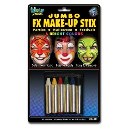 [Wolfe Jumbo Bright Face Paint Crayons (6/box)] (Halloween Costumes White Eyes)