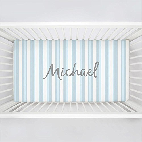 Carousel Designs Personalized Custom Lake Blue Seaside Stripe Crib Sheet Michael Idea - Organic 100% Cotton Fitted Crib Sheet - Made in the USA