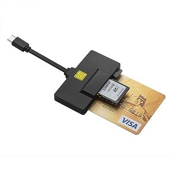 DAOKER USB C Lector de Tarjetas Inteligentes, Lector de Tarjetas DOD Military CAC Compatible con Windows, Mac OS y Linux | Lector de Tarjetas de ...
