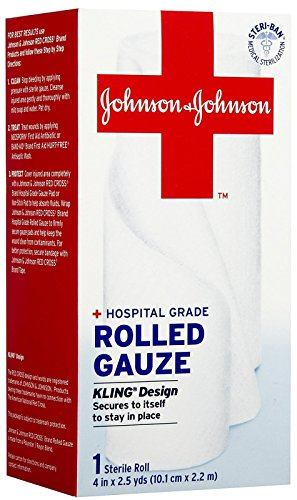 Red Cross First Aid Sterile Rolled Guaze, 4 Inch-2.5 yds, 1 Count (Cabinet Red Cross Medicine)