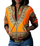 Abetteric Women's with Zips Floral African Dashiki Sexy Fashionable Coat Jacket Outwear Yellow L