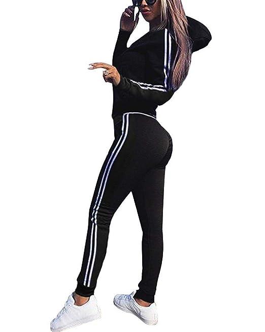 66d3ba0336cb Tomwell Mujeres 2 Piezas Set Chándales Sudadera con Capucha Manga Larga  Deportivos Chaqueta Pantalones Monos Jumpsuit: Amazon.es: Ropa y accesorios