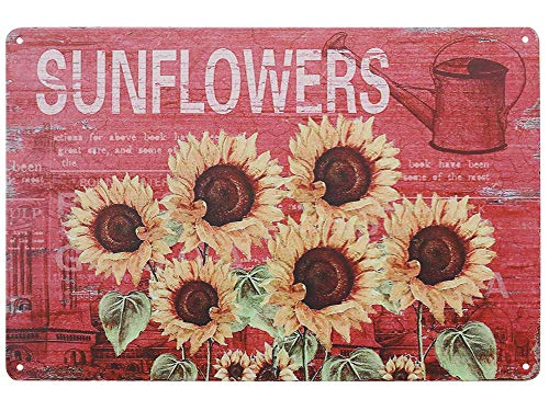 TISOSO Sign Designs Six Sunflowers Retro Vintage Tin Bar Sign Country Farm Sunflower Kitchen Wall Home Decor 8x12inch