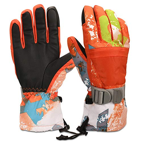 Yobenki Ski Gloves, Winter Waterproof Snow Gloves Non-Slip Breathable Cold Weather Gloves for Mens, Womens, Ladies and Kids Skiing,Snowboarding. (Orange, M(Fits Women or Boys 15~18 Years Old))