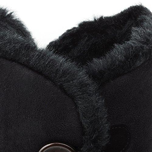 Clppli Womens Twin Button Completamente Foderato In Pelliccia Impermeabile Invernale Stivali Da Neve Blacker