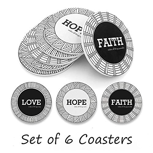 Coasters For Drinks, Personalized Coasters Absorbent Ceramic Drink Coaster Table Coaster Party Favors for Bar Home Living Room Decorations, House Warming Gift, 6 Pieces (Motto)