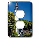 3dRose lsp_230469_6 Lighthouse, Key West, Florida, USA Plug Outlet Cover, Mixed