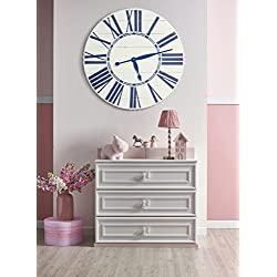 BrandtWorks LLC Navy Nautical Wall Clock, 36 x 36, Antique White/Blue
