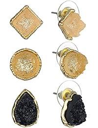 Women's Druzy Stone 3 Pair Set Pierced Stud Earrings