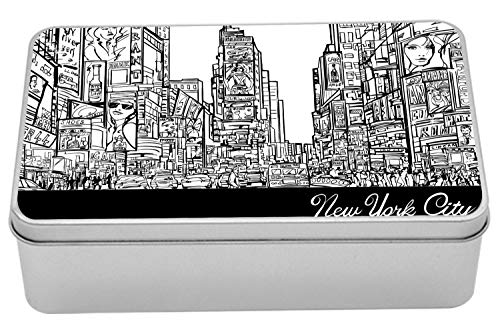 Lunarable New York Tin Box, Times Square with Traffic Jam and Sketch Adverts Hand Drawn Urban City, Portable Rectangle Metal Organizer Storage Box with Lid, 7.2