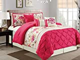 7-Pc Kauai Floral Diamond Pinched Ruched Pleated Ruffled Comforter Set Hot Pink Ivory King