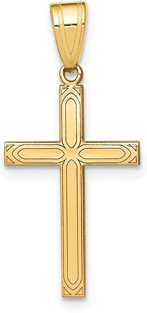 New Solid 10k  yellow Gold plain Flat simple Cross Pendant  charm 1 inch long