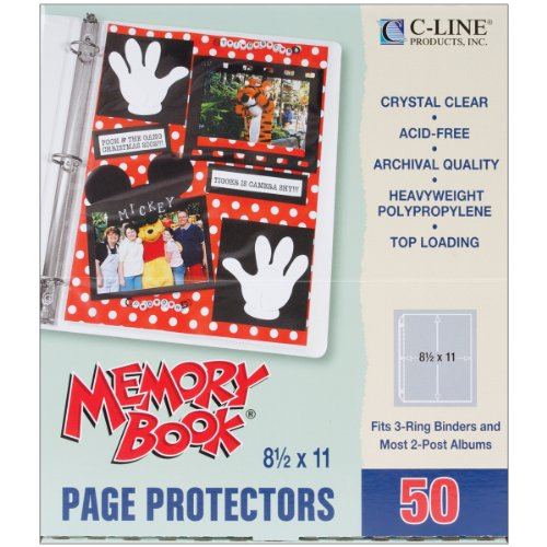 C-Line Memory Book 11 x 8.5 Inch Scrapbook Page Protectors, Heavyweight Poly, Top Load, 50 Pages per Box (62077)