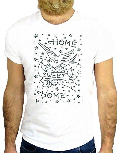 T SHIRT Z0677 TATTO NICE BIRD DOVE HOME SWEET HOME BEST FRIEND ROCK VINTAGE GGG24 BIANCA - WHITE S
