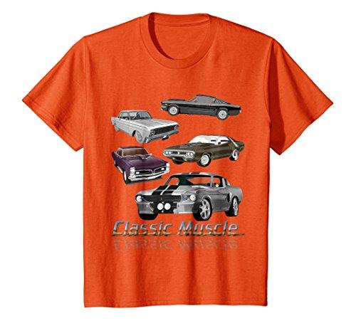 Kids Classic American Muscle Cars Novelty Gift T-Shirt 8 Orange -