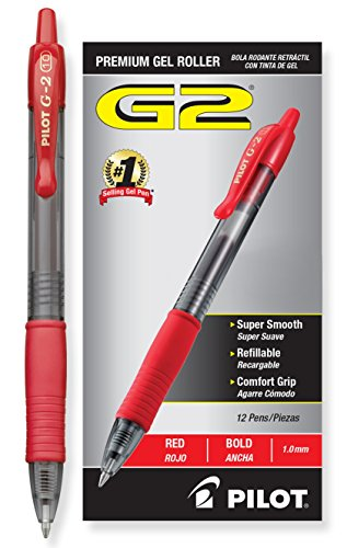 (Pilot G2 Retractable Premium Gel Ink Roller Ball Pens Bold Pt (1.)Dozen Box Red ; Retractable, Refillable & Premium Comfort Grip; Smooth Lines to the End of the Page, America's #1 Selling Pen Brand)
