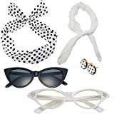 50's Costume Accessories Set Chiffon Scarf Cat Eye Glasses Bandana Tie Headband and Earrings (OneSize, White)