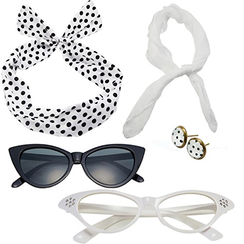 50's Costume Accessories Set Chiffon Scarf Cat Eye Glasses Bandana Tie Headband and Earrings (OneSize, White) (50's Polka Dot)