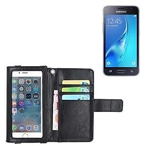 Funda para el Samsung Galaxy J1 (2016) con la pantalla del protector / protector integrado, negro, cuero sintético | Funda Universal Caso Monedero cubierta del tirón Monedero Monedero