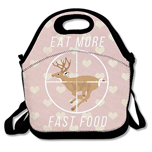 Deer Hunting T-shirt Eat More Fast Food Lunch Tote Insulated