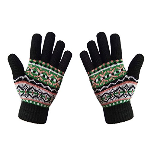 Warm Wool Gloves - LETHMIK Womens&Girls Thick Knit Gloves Warm Winter Colorful Glove with Wool Lined Black