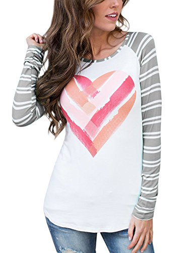 GAMISOTE Women Valentines Gift T Shirt Casual Striped Raglan Printed Long Sleeve Tunic Tops, A Grey, (Striped Heart Tee)