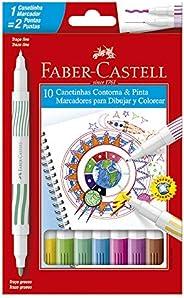 Caneta Hidrográfica Ponta Dupla, Faber-Castell, Contorna & Pinta, 15.0110DUO, 10 C