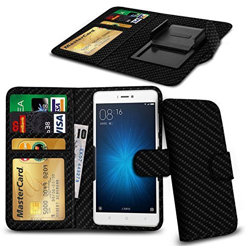 N4U Online Carbon Fibre Clip On Series PU Leather Wallet Book Case For...
