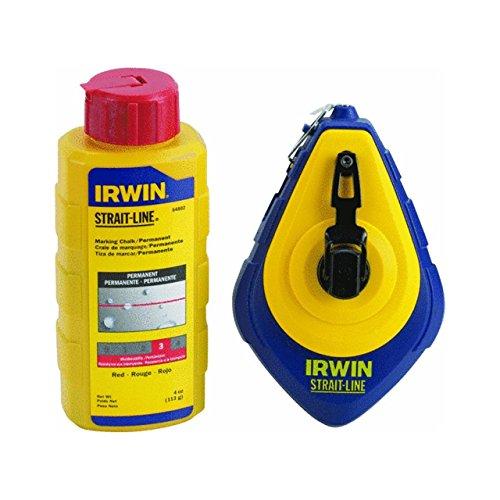 IRWIN 1932885 HIGH SPEED 100' CHALK LINE REEL + 4OZ CHALK RED