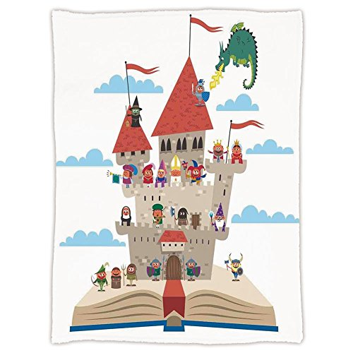 Super Soft Throw Blanket Custom Design Cozy Fleece Blanket,Kids,Fairy Tale Story Book Castle King Queen Princess Dragon Witch Knight Wizard Vikings Theme Print,Perfect for Couch Sofa or - Fairy Theme Tale Guest Book