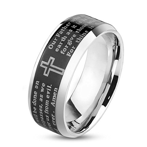 UNUStyle CHOOSE Your Color Stainless Steel Lord's Prayer IP Beveled Edge Ring (Black - 6mm - Size 8)