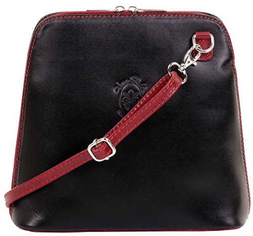 Primo Sacchi Italian Black & Red Smooth Leather Small Cross Body or Shoulder Bag Handbag