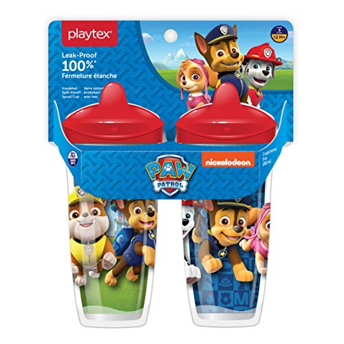 Playtex Sipsters Stage 3 Paw Patrol Spill-Proof, Leak-Proof, Break-Proof Spout Cup for Boys, 9 Ounce - Pack of 2 (Playtex Straw Bottle)
