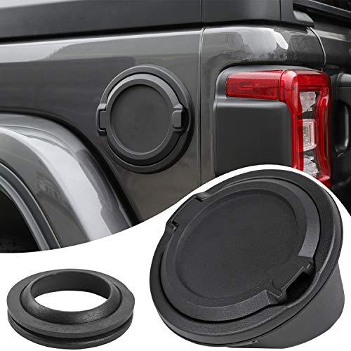 Savadicar Gas Cap Cover Non-Locking Fuel Tank Door for 2018-2019 Jeep Wrangler JL 4-Door 2-Door, ABS + Aluminum Alloy Construction, Black