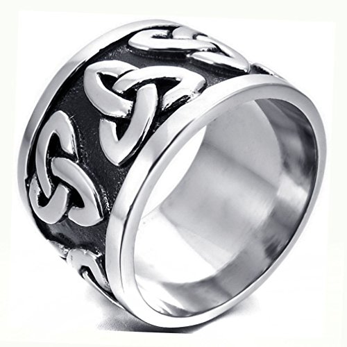 (Dancing Stone Men's Women's Celtic Knot Stainless Steel Wedding Band Enamel Ring)