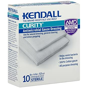 Kendall Curity Antimicrobial Gauze Dressing, 10 ct.