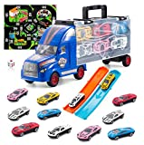 TAODUDU Kids Truck Transport Car -Toy Car with Track Container Set with 12 Mini Alloy Cars and One Eco-Friendly Plastic Transport Toys Cars, Plastic Activity Game Pad Dice, for Kids, Boys & Girls